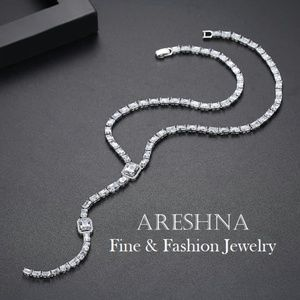 Areshna Jewelry - Lariat Swarovski Crystals Bridal Luxury Neckalce